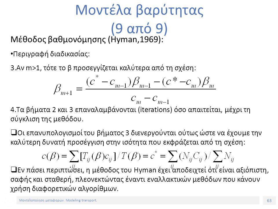 63 Μοντελοποίηση μεταφορών. Modeling transport. Μέθοδος βαθμονόμησης (Hyman,1969): Περιγραφή διαδικασίας: 3.Αν m>1, τότε το β προσεγγίζεται καλύτερα α