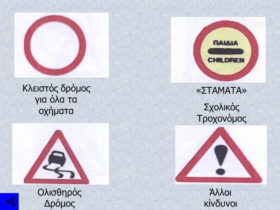 Ανώτατο όριο Ταχύτητας Κατώτατο όριο ταχύτητας Κυκλικός κόμβος Απαγορεύεται η στροφή δεξιά