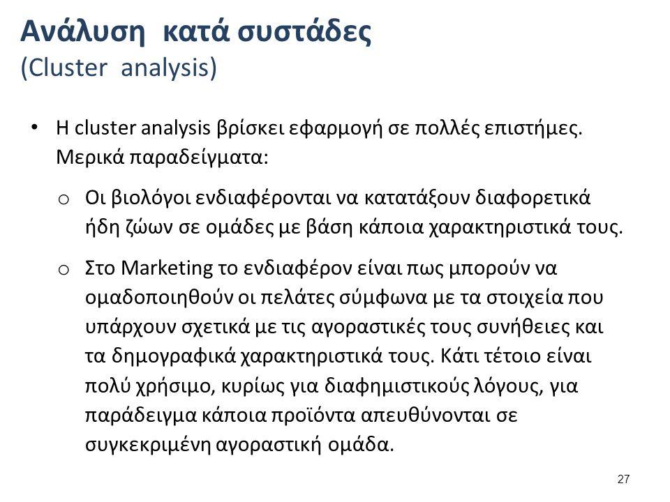 Η cluster analysis βρίσκει εφαρμογή σε πολλές επιστήμες.