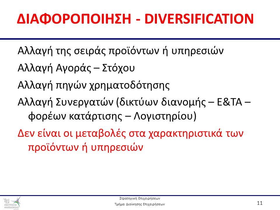 Στρατηγική Επιχειρήσεων Τμήμα Διοίκησης Επιχειρήσεων 11 ΔΙΑΦΟΡΟΠΟΙΗΣΗ - DIVERSIFICATION Αλλαγή της σειράς προϊόντων ή υπηρεσιών Αλλαγή Αγοράς – Στόχου Αλλαγή πηγών χρηματοδότησης Αλλαγή Συνεργατών (δικτύων διανομής – Ε&ΤΑ – φορέων κατάρτισης – Λογιστηρίου) Δεν είναι οι μεταβολές στα χαρακτηριστικά των προϊόντων ή υπηρεσιών