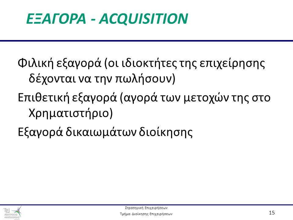 Στρατηγική Επιχειρήσεων Τμήμα Διοίκησης Επιχειρήσεων 15 ΕΞΑΓΟΡΑ - ACQUISITION Φιλική εξαγορά (οι ιδιοκτήτες της επιχείρησης δέχονται να την πωλήσουν) Επιθετική εξαγορά (αγορά των μετοχών της στο Χρηματιστήριο) Εξαγορά δικαιωμάτων διοίκησης