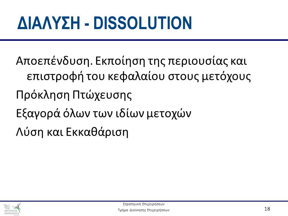 Στρατηγική Επιχειρήσεων Τμήμα Διοίκησης Επιχειρήσεων 18 ΔΙΑΛΥΣΗ - DISSOLUTION Αποεπένδυση.