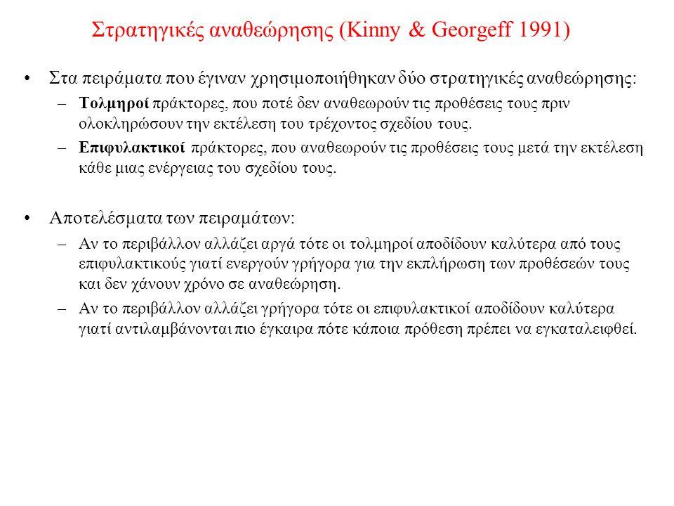 Στρατηγικές αναθεώρησης (Kinny & Georgeff 1991) Στα πειράματα που έγιναν χρησιμοποιήθηκαν δύο στρατηγικές αναθεώρησης: –Τολμηροί πράκτορες, που ποτέ δεν αναθεωρούν τις προθέσεις τους πριν ολοκληρώσουν την εκτέλεση του τρέχοντος σχεδίου τους.