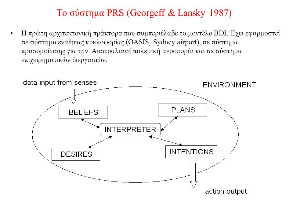 Το σύστημα PRS (Georgeff & Lansky 1987) Η πρώτη αρχιτεκτονική πράκτορα που συμπεριέλαβε το μοντέλο BDI. Έχει εφαρμοστεί σε σύστημα εναέριας κυκλοφορία