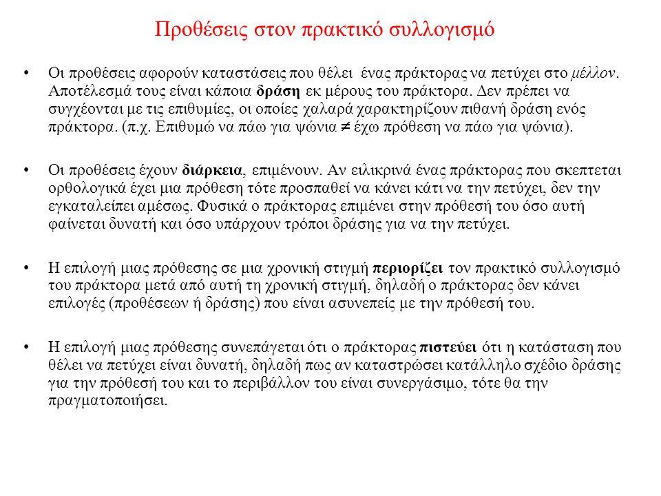 Η θέση ασυμμετρίας (Bratman 1987) Οι πεποιθήσεις και οι προθέσεις ενός πράκτορα αλληλεπιδρούν.