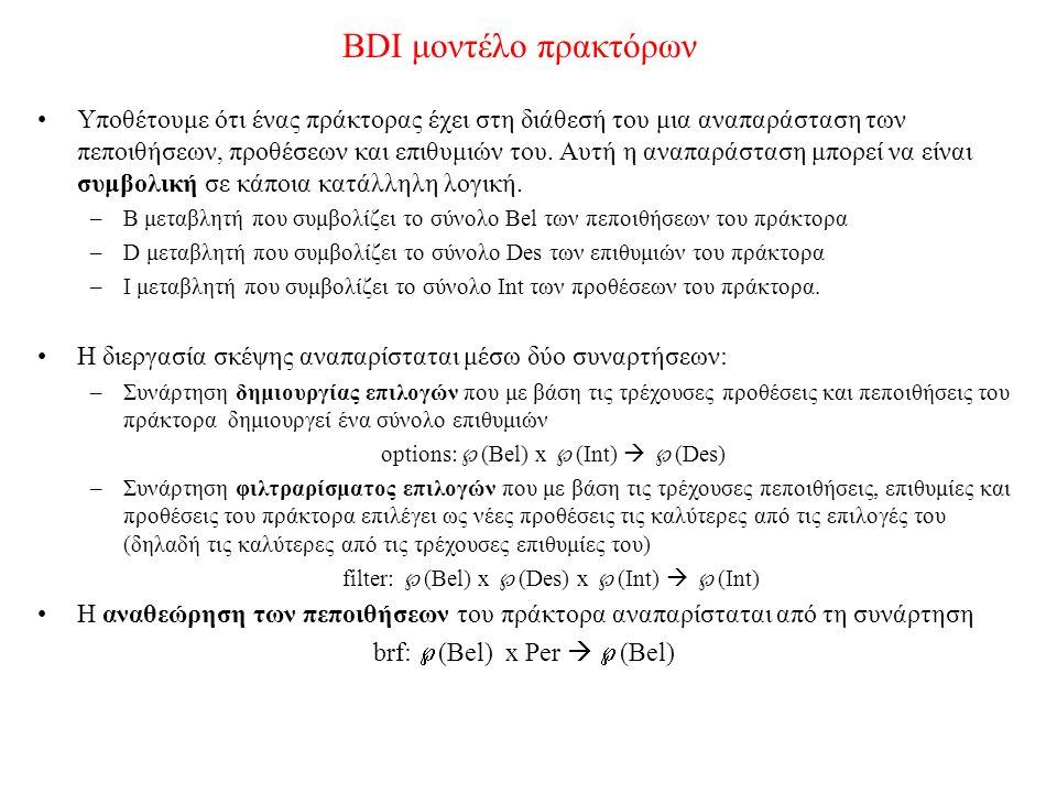BDI μοντέλο πρακτόρων Υποθέτουμε ότι ένας πράκτορας έχει στη διάθεσή του μια αναπαράσταση των πεποιθήσεων, προθέσεων και επιθυμιών του. Αυτή η αναπαρά
