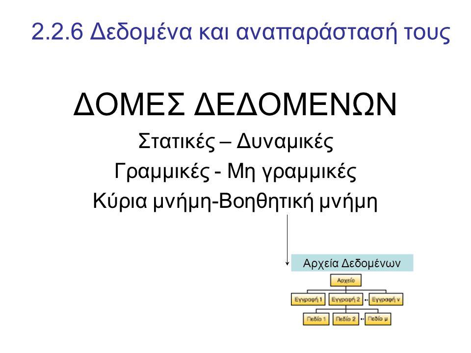 ΔΟΜΕΣ ΔΕΔΟΜΕΝΩΝ Στατικές – Δυναμικές Γραμμικές - Μη γραμμικές Κύρια μνήμη-Βοηθητική μνήμη 2.2.6 Δεδομένα και αναπαράστασή τους Αρχεία Δεδομένων