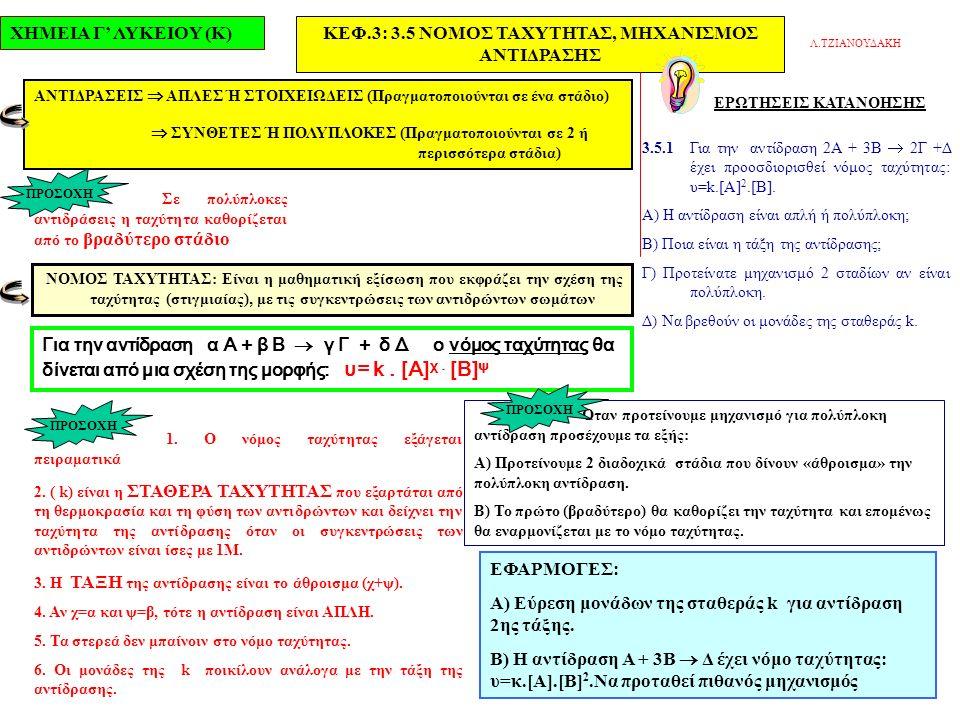 ΧΗΜΕΙΑ Γ' ΛΥΚΕΙΟΥ (Κ)ΚΕΦ.3: 3.5 ΝΟΜΟΣ ΤΑΧΥΤΗΤΑΣ, ΜΗΧΑΝΙΣΜΟΣ ΑΝΤΙΔΡΑΣΗΣ ΕΡΩΤΗΣΕΙΣ ΚΑΤΑΝΟΗΣΗΣ 3.5.1 Για την αντίδραση 2Α + 3Β  2Γ +Δ έχει προοσδιορισθεί νόμος ταχύτητας: υ=k.[Α] 2.[Β].