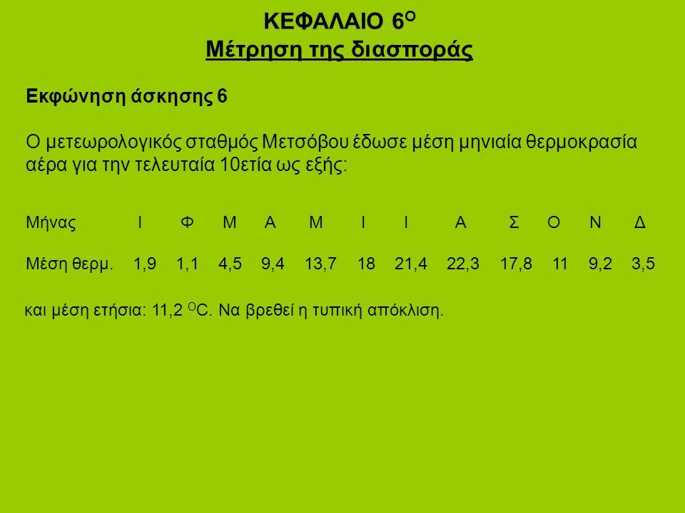 ΚΕΦΑΛΑΙΟ 6 Ο Μέτρηση της διασποράς Εκφώνηση άσκησης 6 Ο μετεωρολογικός σταθμός Μετσόβου έδωσε μέση μηνιαία θερμοκρασία αέρα για την τελευταία 10ετία ως εξής: Μήνας Ι Φ Μ Α Μ Ι Ι Α Σ Ο Ν Δ Μέση θερμ.
