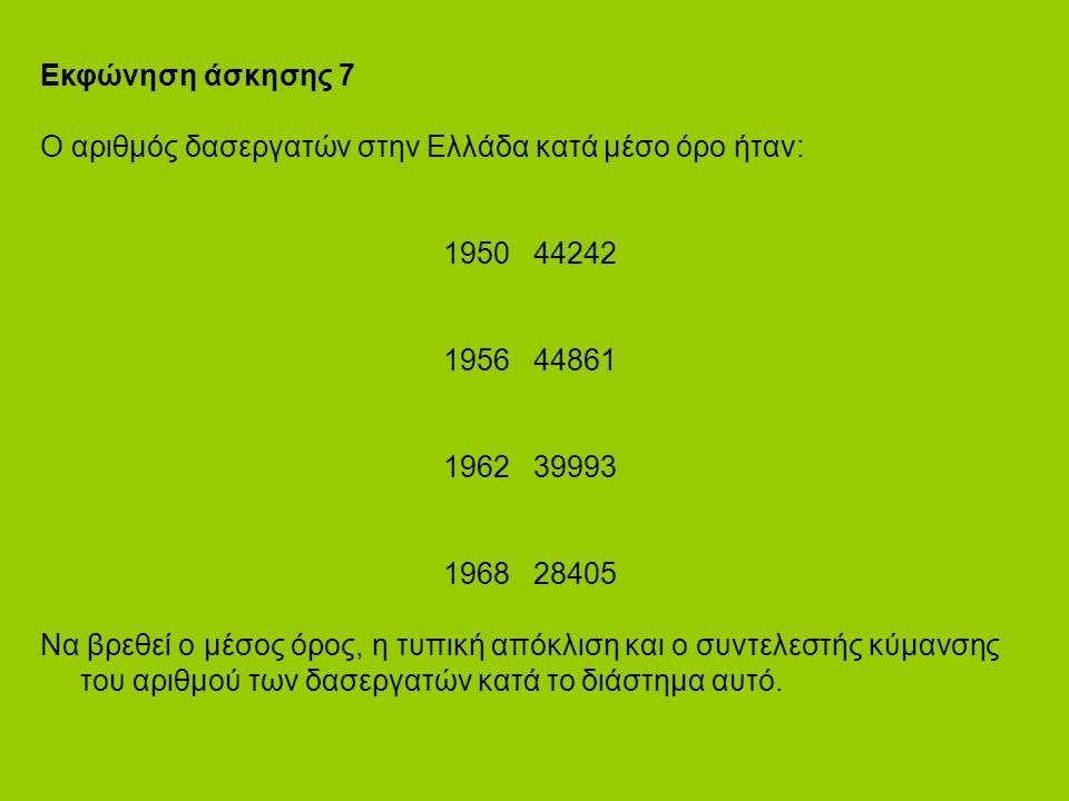 Εκφώνηση άσκησης 7 Ο αριθμός δασεργατών στην Ελλάδα κατά μέσο όρο ήταν: 1950 44242 1956 44861 1962 39993 1968 28405 Να βρεθεί ο μέσος όρος, η τυπική απόκλιση και ο συντελεστής κύμανσης του αριθμού των δασεργατών κατά το διάστημα αυτό.