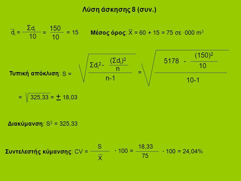 Λύση άσκησης 8 (συν.) d i = ΣdiΣdi 10 = 150 10 = 15 Μέσος όρος: X = 60 + 15 = 75 σε ·000 m 3 (Σdi)2(Σdi)2 Σdi2Σdi2 n - n-1 S = (150) 2 5178 10 - 10-1 = = 325,33 = 18,03 + Τυπική απόκλιση: Διακύμανση: S 2 = 325,33 S X · 100 = 18,33 75 · 100 = 24,04% Συντελεστής κύμανσης: CV =