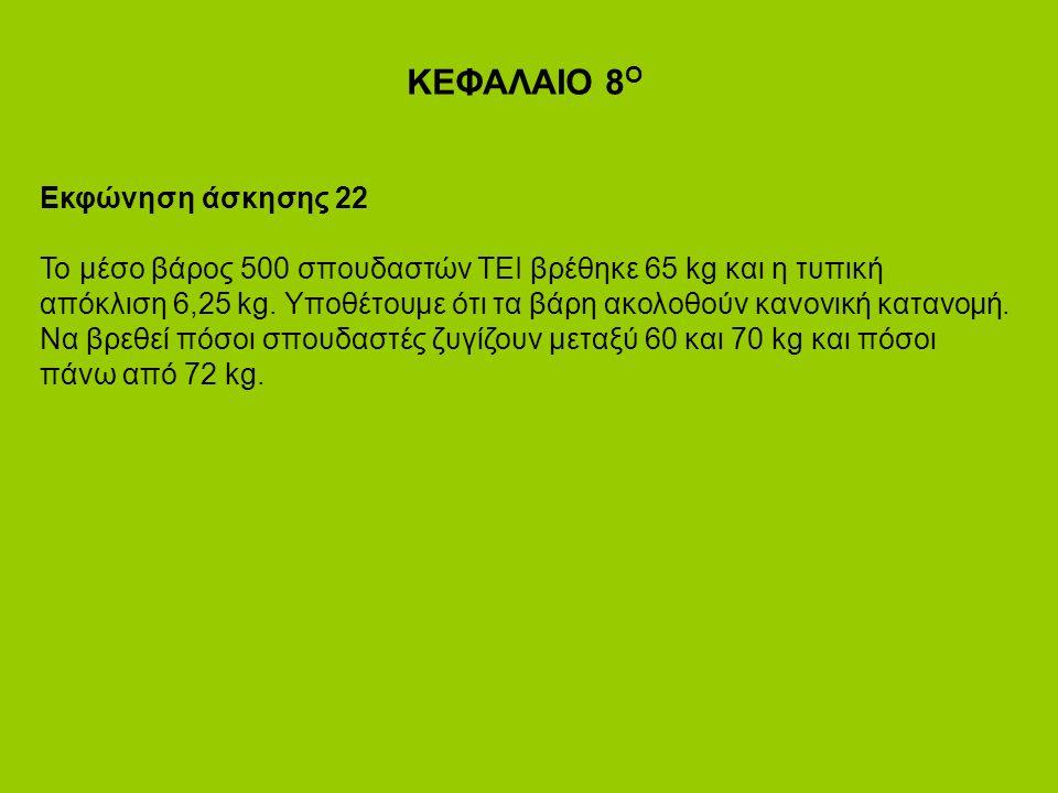 ΚΕΦΑΛΑΙΟ 8 Ο Εκφώνηση άσκησης 22 Το μέσο βάρος 500 σπουδαστών ΤΕΙ βρέθηκε 65 kg και η τυπική απόκλιση 6,25 kg.