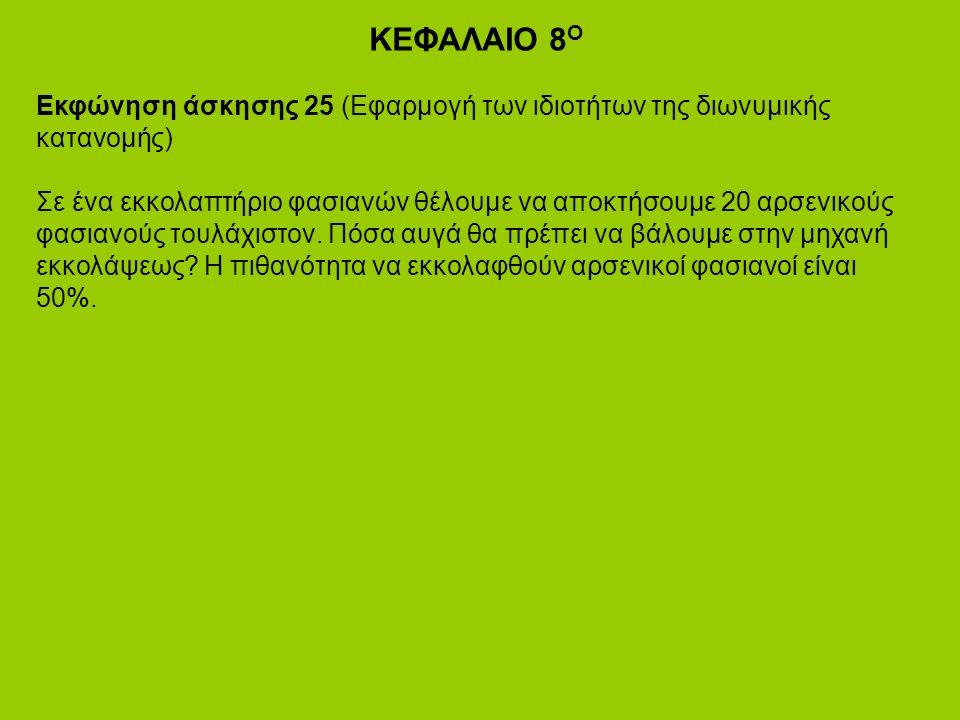 ΚΕΦΑΛΑΙΟ 8 Ο Εκφώνηση άσκησης 25 (Εφαρμογή των ιδιοτήτων της διωνυμικής κατανομής) Σε ένα εκκολαπτήριο φασιανών θέλουμε να αποκτήσουμε 20 αρσενικούς φασιανούς τουλάχιστον.