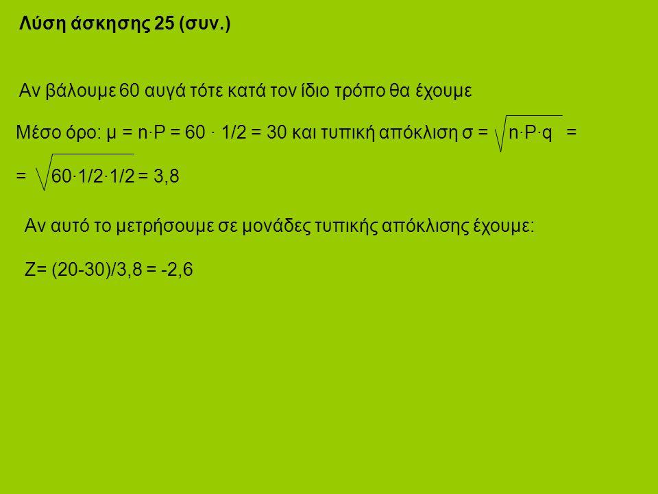 Λύση άσκησης 25 (συν.) Αν βάλουμε 60 αυγά τότε κατά τον ίδιο τρόπο θα έχουμε Μέσο όρο: μ = n·P = 60 · 1/2 = 30 και τυπική απόκλιση σ = n·P·q = = 60·1/2·1/2 = 3,8 Αν αυτό το μετρήσουμε σε μονάδες τυπικής απόκλισης έχουμε: Z= (20-30)/3,8 = -2,6
