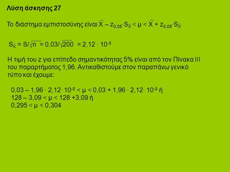 Λύση άσκησης 27 Το διάστημα εμπιστοσύνης είναι Χ – z 0,05 ·S X < μ < X + z 0,05 ·S X S X = S/ n = 0,03/ 200 = 2,12 · 10 -3 Η τιμή του z για επίπεδο σημαντικότητας 5% είναι από τον Πίνακα ΙΙΙ του παραρτήματος 1,96.
