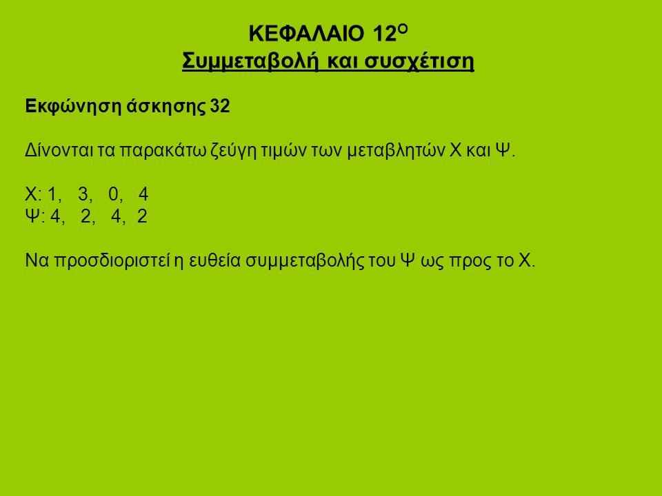 ΚΕΦΑΛΑΙΟ 12 Ο Συμμεταβολή και συσχέτιση Εκφώνηση άσκησης 32 Δίνονται τα παρακάτω ζεύγη τιμών των μεταβλητών Χ και Ψ.