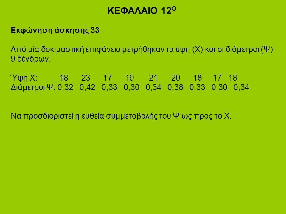 ΚΕΦΑΛΑΙΟ 12 Ο Εκφώνηση άσκησης 33 Από μία δοκιμαστική επιφάνεια μετρήθηκαν τα ύψη (Χ) και οι διάμετροι (Ψ) 9 δένδρων.