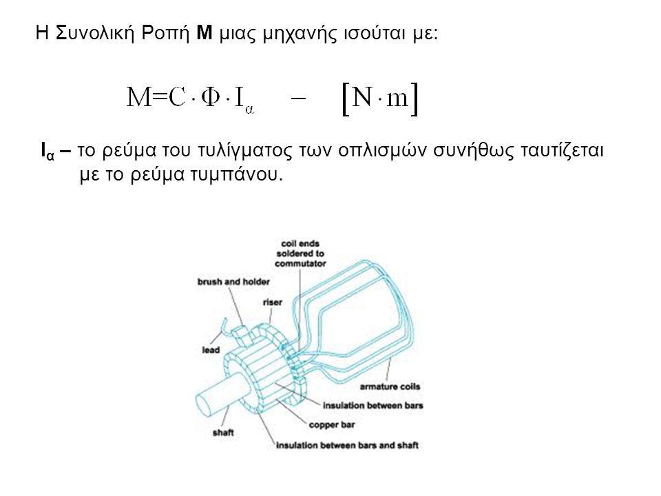 Η Συνολική Ροπή Μ μιας μηχανής ισούται με: Ι α – το ρεύμα του τυλίγματος των οπλισμών συνήθως ταυτίζεται με το ρεύμα τυμπάνου.