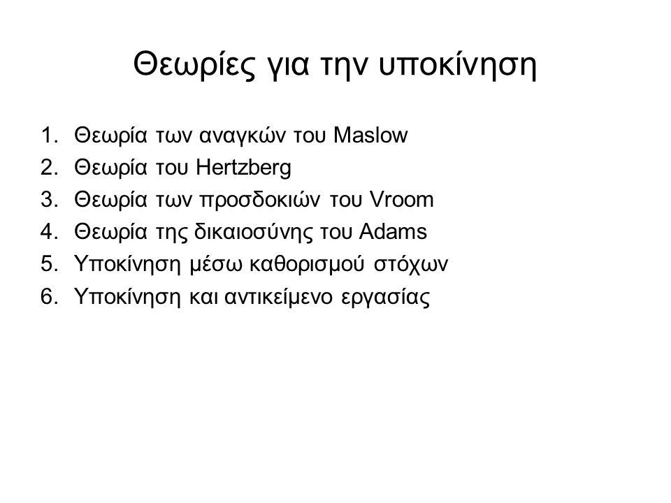 Θεωρίες για την υποκίνηση 1.Θεωρία των αναγκών του Maslow 2.Θεωρία του Hertzberg 3.Θεωρία των προσδοκιών του Vroom 4.Θεωρία της δικαιοσύνης του Adams 5.Υποκίνηση μέσω καθορισμού στόχων 6.Υποκίνηση και αντικείμενο εργασίας
