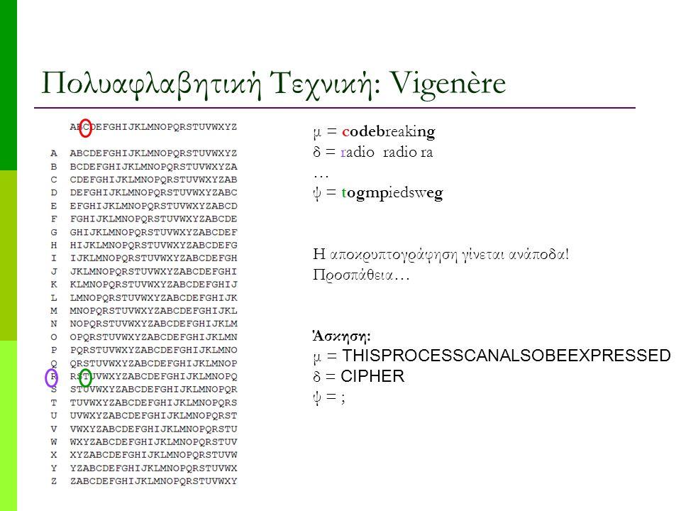 Πολυαφλαβητική Τεχνική: Vigenère μ = codebreaking δ = radio radio ra … ψ = togmpiedsweg H αποκρυπτογράφηση γίνεται ανάποδα! Προσπάθεια… Άσκηση: μ = TH