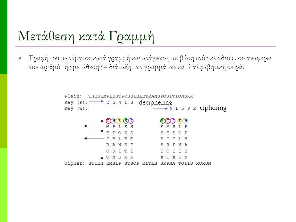 Μετάθεση κατά Γραμμή  Γραφή του μηνύματος κατά γραμμή και ανάγνωση με βάση ενός κλειδιού που αναφέρει τον αριθμό της μετάθεσης – διάταξη των γραμμάτων κατά αλφαβητική σειρά.