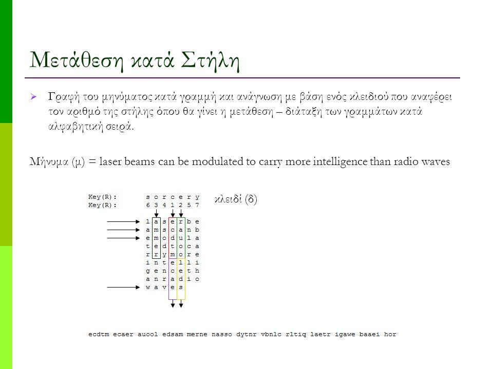 Μετάθεση κατά Στήλη  Γραφή του μηνύματος κατά γραμμή και ανάγνωση με βάση ενός κλειδιού που αναφέρει τον αριθμό της στήλης όπου θα γίνει η μετάθεση – διάταξη των γραμμάτων κατά αλφαβητική σειρά.