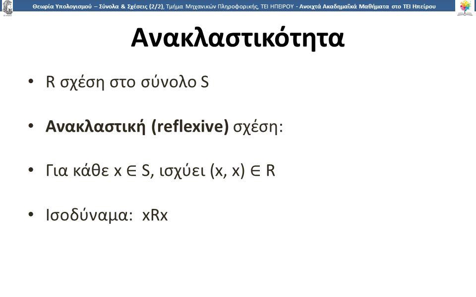 2 Θεωρία Υπολογισμού – Σύνολα & Σχέσεις (2/2), Τμήμα Μηχανικών Πληροφορικής, ΤΕΙ ΗΠΕΙΡΟΥ - Ανοιχτά Ακαδημαϊκά Μαθήματα στο ΤΕΙ Ηπείρου Ανακλαστικότητα R σχέση στο σύνολο S Ανακλαστική (reflexive) σχέση: Για κάθε x ∈ S, ισχύει (x, x) ∈ R Ισοδύναμα: xRx