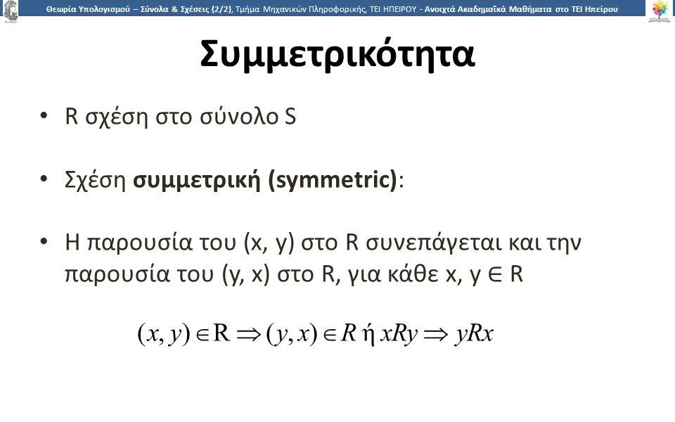 2323 Θεωρία Υπολογισμού – Σύνολα & Σχέσεις (2/2), Τμήμα Μηχανικών Πληροφορικής, ΤΕΙ ΗΠΕΙΡΟΥ - Ανοιχτά Ακαδημαϊκά Μαθήματα στο ΤΕΙ Ηπείρου Συμμετρικότητα R σχέση στο σύνολο S Σχέση συμμετρική (symmetric): Η παρουσία του (x, y) στo R συνεπάγεται και την παρουσία του (y, x) στo R, για κάθε x, y ∈ R (x, y)  R  ( y, x)  R ή xRy  yRx