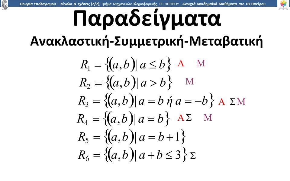 2525 Θεωρία Υπολογισμού – Σύνολα & Σχέσεις (2/2), Τμήμα Μηχανικών Πληροφορικής, ΤΕΙ ΗΠΕΙΡΟΥ - Ανοιχτά Ακαδημαϊκά Μαθήματα στο ΤΕΙ Ηπείρου Παραδείγματα Ανακλαστική-Συμμετρική-Μεταβατική R 1   a, b  | a  b  R2 a, b| a  bR2 a, b| a  b R 3   a, b  | a  b ή a   b  R4 a, b| a  bR4 a, b| a  b R5 a, b| a  b 1R5 a, b| a  b 1 R6 a, b| a  b  3 ΣR6 a, b| a  b  3 Σ ΑΜΑΜ ΑΣ ΜΑΣ Μ Α ΣΜΑ ΣΜ Μ