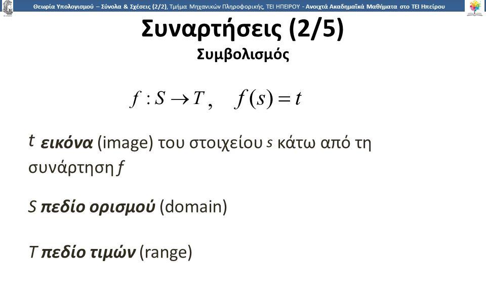 2727 Θεωρία Υπολογισμού – Σύνολα & Σχέσεις (2/2), Τμήμα Μηχανικών Πληροφορικής, ΤΕΙ ΗΠΕΙΡΟΥ - Ανοιχτά Ακαδημαϊκά Μαθήματα στο ΤΕΙ Ηπείρου Συναρτήσεις (2/5) Συμβολισμός t εικόνα (image) του στοιχείου s κάτω από τη συνάρτηση f S πεδίο ορισμού (domain) T πεδίο τιμών (range) f: S  T,f: S  T, f (s)  t