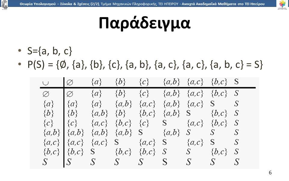 6 Θεωρία Υπολογισμού – Σύνολα & Σχέσεις (2/2), Τμήμα Μηχανικών Πληροφορικής, ΤΕΙ ΗΠΕΙΡΟΥ - Ανοιχτά Ακαδημαϊκά Μαθήματα στο ΤΕΙ Ηπείρου Παράδειγμα S={a, b, c} P(S) = { ∅, {a}, {b}, {c}, {a, b}, {a, c}, {a, c}, {a, b, c} = S} 6