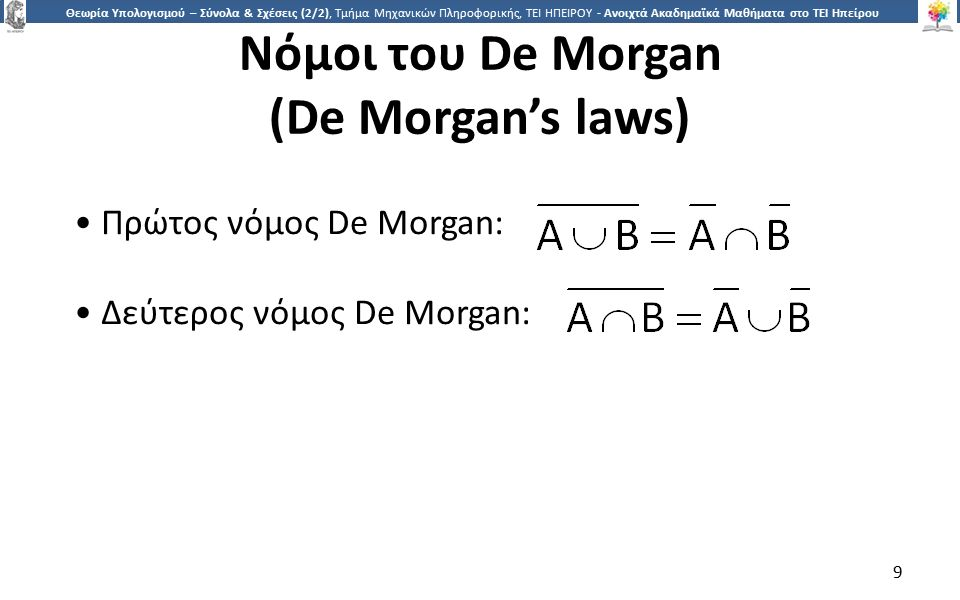 9 Θεωρία Υπολογισμού – Σύνολα & Σχέσεις (2/2), Τμήμα Μηχανικών Πληροφορικής, ΤΕΙ ΗΠΕΙΡΟΥ - Ανοιχτά Ακαδημαϊκά Μαθήματα στο ΤΕΙ Ηπείρου Νόμοι του De Morgan (De Morgan's laws) 9 Πρώτος νόμος De Morgan: Δεύτερος νόμος De Morgan: