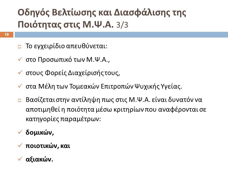  Το εγχειρίδιο απευθύνεται : στο Προσωπικό των Μ. Ψ. Α., στους Φορείς Διαχείρισής τους, στα Μέλη των Τομεακών Επιτροπών Ψυχικής Υγείας.  Βασίζεται σ