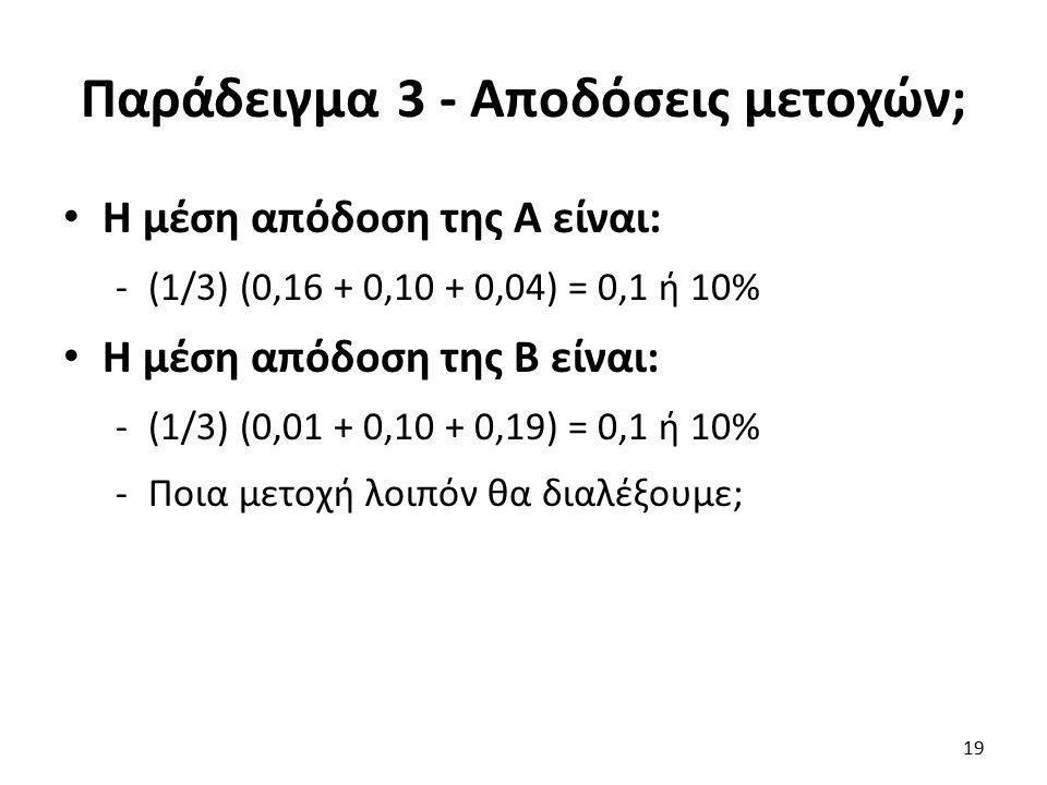 Παράδειγμα 3 - Αποδόσεις μετοχών; Η μέση απόδοση της Α είναι: -(1/3) (0,16 + 0,10 + 0,04) = 0,1 ή 10% Η μέση απόδοση της Β είναι: -(1/3) (0,01 + 0,10 + 0,19) = 0,1 ή 10% -Ποια μετοχή λοιπόν θα διαλέξουμε; 19
