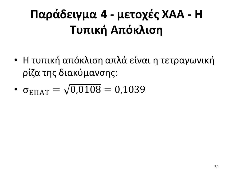 Παράδειγμα 4 - μετοχές ΧΑΑ - Η Τυπική Απόκλιση 31