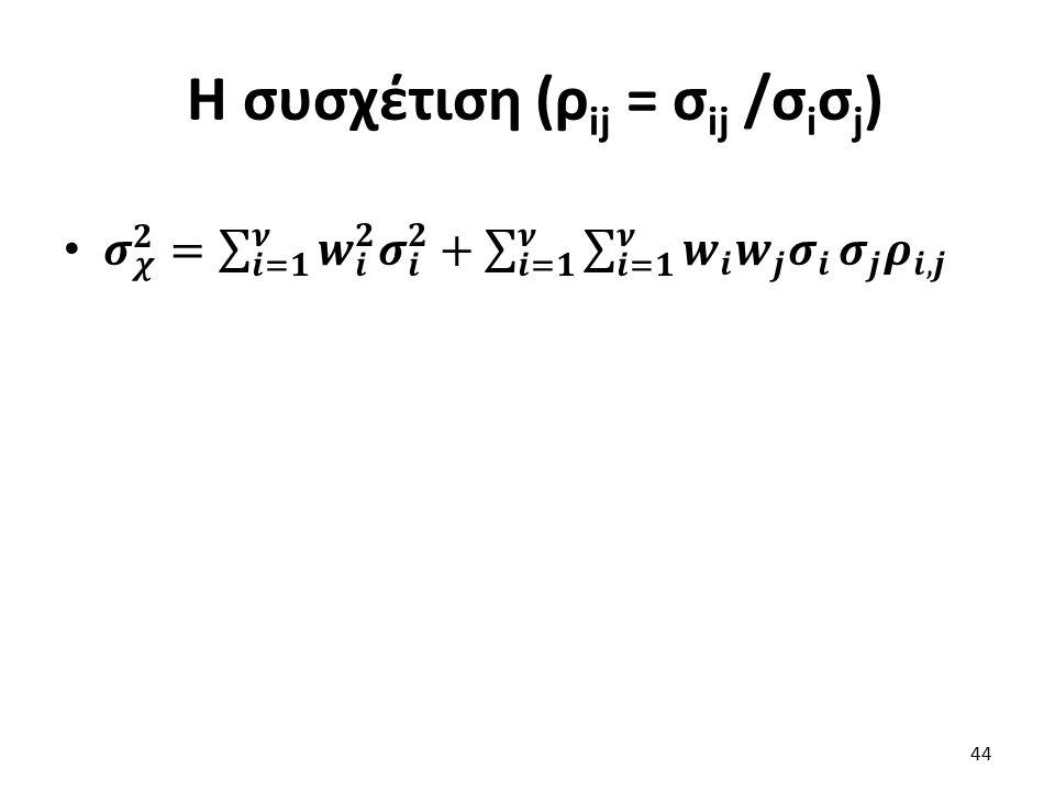 Η συσχέτιση (ρ ij = σ ij /σ i σ j ) 44