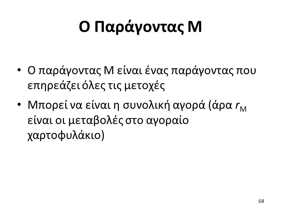 Ο Παράγοντας Μ Ο παράγοντας M είναι ένας παράγοντας που επηρεάζει όλες τις μετοχές Μπορεί να είναι η συνολική αγορά (άρα r Μ είναι οι μεταβολές στο αγοραίο χαρτοφυλάκιο) 68