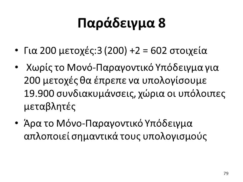 Παράδειγμα 8 Για 200 μετοχές:3 (200) +2 = 602 στοιχεία Χωρίς το Μονό-Παραγοντικό Υπόδειγμα για 200 μετοχές θα έπρεπε να υπολογίσουμε 19.900 συνδιακυμάνσεις, χώρια οι υπόλοιπες μεταβλητές Άρα το Μόνο-Παραγοντικό Υπόδειγμα απλοποιεί σημαντικά τους υπολογισμούς 79