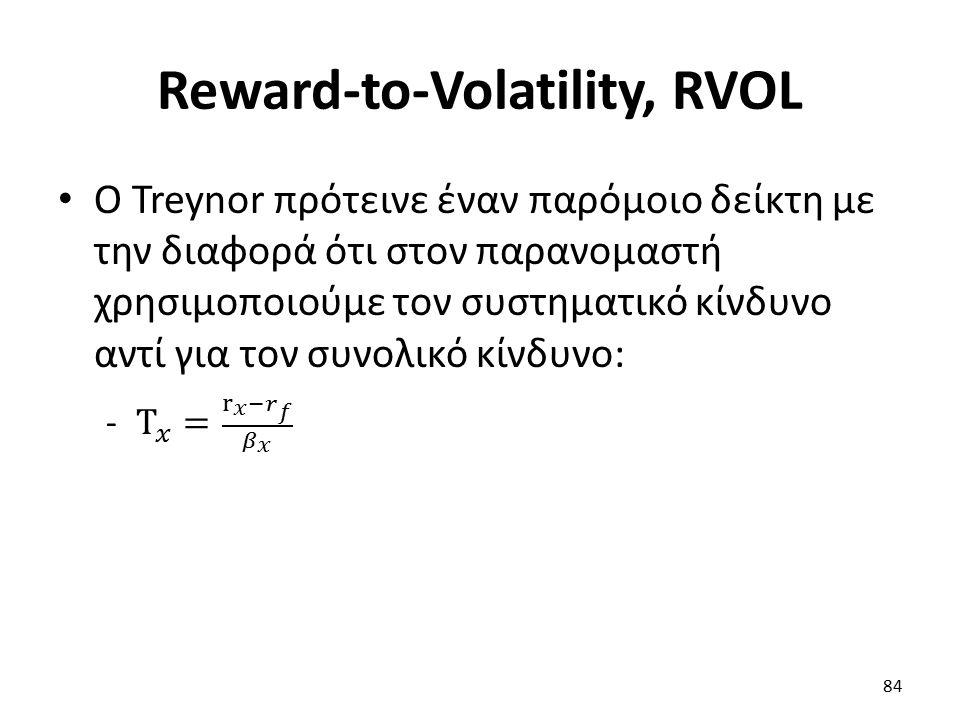 Reward-to-Volatility, RVOL 84