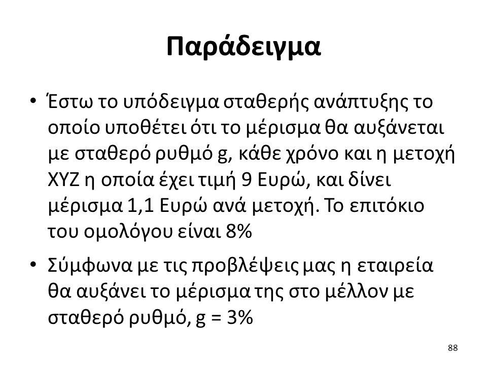 Παράδειγμα Έστω το υπόδειγμα σταθερής ανάπτυξης το οποίο υποθέτει ότι το μέρισμα θα αυξάνεται με σταθερό ρυθμό g, κάθε χρόνο και η μετοχή ΧΥΖ η οποία έχει τιμή 9 Ευρώ, και δίνει μέρισμα 1,1 Ευρώ ανά μετοχή.