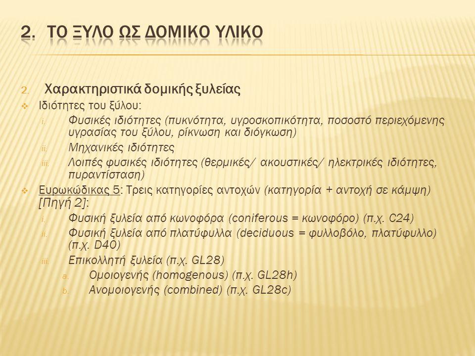 2. Χαρακτηριστικά δομικής ξυλείας  Ιδιότητες του ξύλου: i.