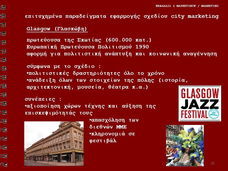 επιτυχημένα παραδείγματα εφαρμογής σχεδίου city marketing ΚΕΦΑΛΑΙΟ 2 ΜΑΡΚΕΤΙΝΓΚ / MARKETING 10 πρωτεύουσα της Σκωτίας (600.000 κατ.) Ευρωπαϊκή Πρωτεύουσα Πολιτισμού 1990 αφορμή για πολιτιστική ανάπτυξη και κοινωνική αναγέννηση σύμφωνα με το σχέδιο : πολιτιστικές δραστηριότητες όλο το χρόνο ανάδειξη όλων των στοιχείων της πόλης (ιστορία, αρχιτεκτονική, μουσεία, θέατρα κ.α.) συνέπειες : αξιοποίηση χώρων τέχνης και αύξηση της επισκεψιμότητάς τους απασχόληση των διεθνών ΜΜΕ κληρονομιά σε φεστιβάλ Glasgow (Γλασκώβη)