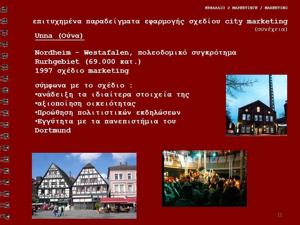 11 ΚΕΦΑΛΑΙΟ 2 ΜΑΡΚΕΤΙΝΓΚ / MARKETING επιτυχημένα παραδείγματα εφαρμογής σχεδίου city marketing (συνέχεια) Nordheim – Westafalen, πολεοδομικό συγκρότημα Rurhgebiet (69.000 κατ.) 1997 σχέδιο marketing σύμφωνα με το σχέδιο : ανάδειξη τα ιδιαίτερα στοιχεία της αξιοποίηση οικειότητας Προώθηση πολιτιστικών εκδηλώσεων Εγγύτητα με τα πανεπιστήμια του Dortmund Unna (Ούνα)