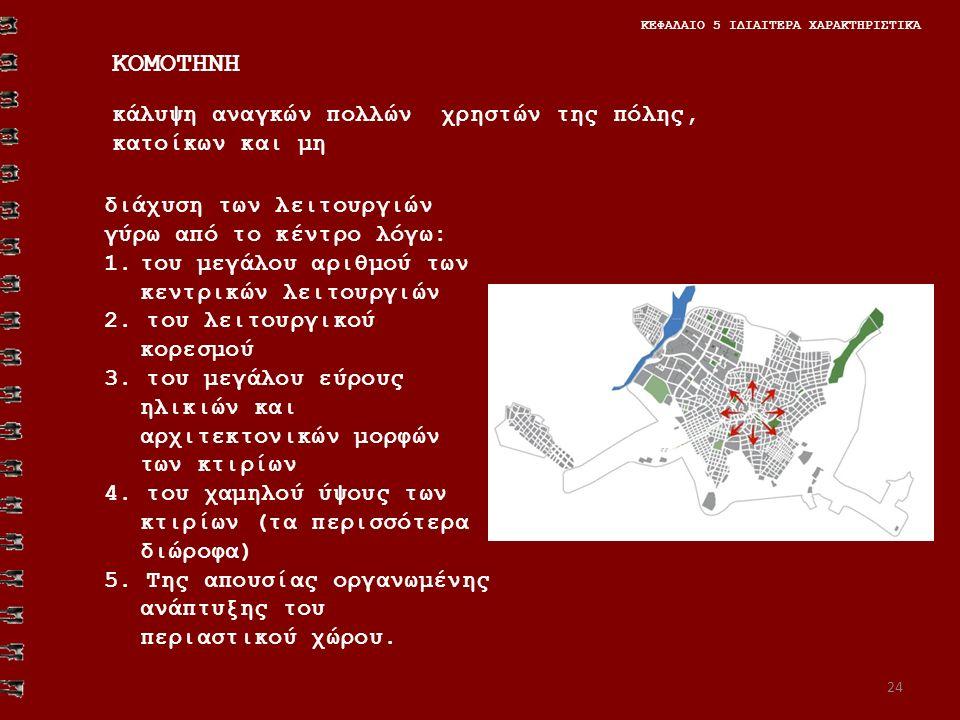 24 ΚΕΦΑΛΑΙΟ 5 ΙΔΙΑΙΤΕΡΑ ΧΑΡΑΚΤΗΡΙΣΤΙΚΑ ΚΟΜΟΤΗΝΗ κάλυψη αναγκών πολλών χρηστών της πόλης, κατοίκων και μη διάχυση των λειτουργιών γύρω από το κέντρο λόγω: 1.του μεγάλου αριθμού των κεντρικών λειτουργιών 2.