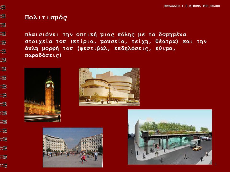 Πολιτισμός πλαισιώνει την οπτική μιας πόλης με τα δομημένα στοιχεία του (κτίρια, μουσεία, τείχη, θέατρα) και την άυλη μορφή του (φεστιβάλ, εκδηλώσεις, έθιμα, παραδόσεις) ΚΕΦΑΛΑΙΟ 1 Η ΕΙΚΟΝΑ ΤΗΣ ΠΟΛΗΣ 6