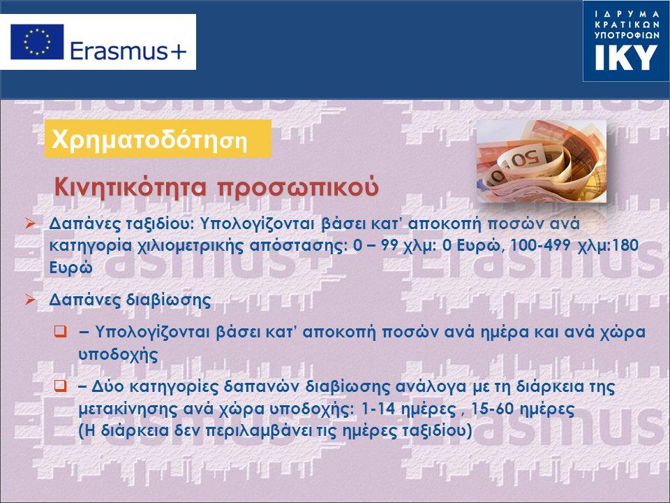  Δαπάνες ταξιδίου: Υπολογίζονται βάσει κατ' αποκοπή ποσών ανά κατηγορία χιλιομετρικής απόστασης: 0 – 99 χλμ: 0 Ευρώ, 100-499 χλμ:180 Ευρώ  Δαπάνες διαβίωσης  – Υπολογίζονται βάσει κατ' αποκοπή ποσών ανά ημέρα και ανά χώρα υποδοχής  – Δύο κατηγορίες δαπανών διαβίωσης ανάλογα με τη διάρκεια της μετακίνησης ανά χώρα υποδοχής: 1-14 ημέρες, 15-60 ημέρες (Η διάρκεια δεν περιλαμβάνει τις ημέρες ταξιδίου) Κινητικότητα προσωπικού