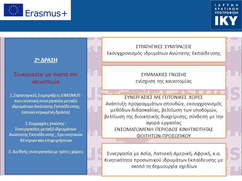 Date: in 12 pts 2 η ΔΡΑΣΗ Συνεργασία με σκοπό την καινοτομία 1.Στρατηγικές Συμπράξεις ERASMUS- πιο εντατική συνεργασία μεταξύ ιδρυμάτων Ανώτατης Εκπαίδευσης (αποκεντρωμένη δράση) 2.Συμμαχίες γνώσης : Συνεργασίες μεταξύ ιδρυμάτων Ανώτατης Εκπαίδευσης, Ερευνητικών Κέντρων και επιχειρήσεων 3.