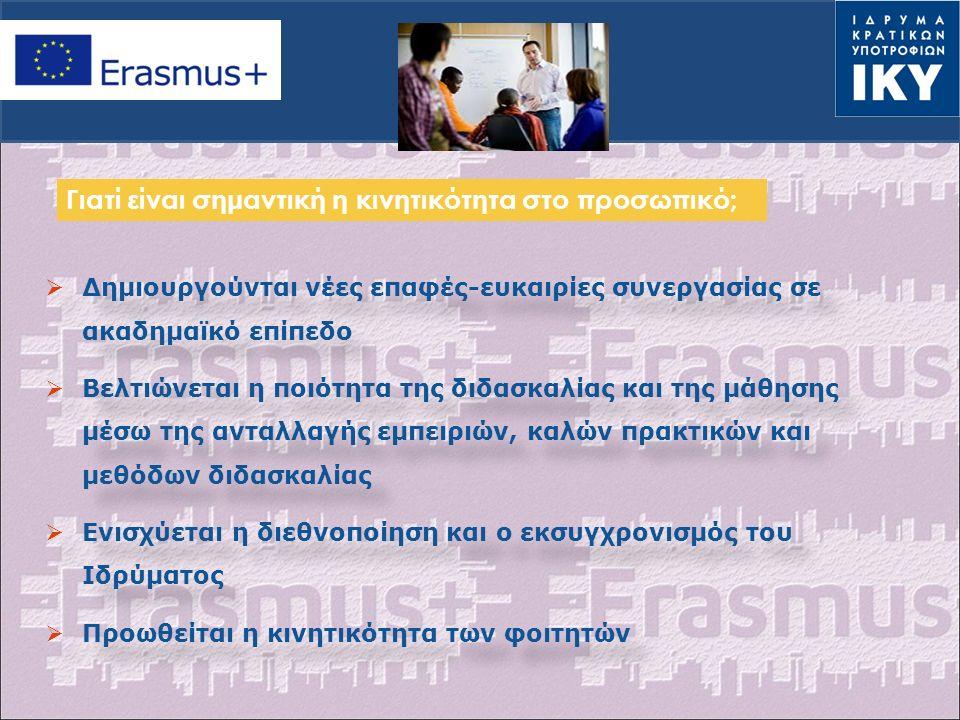 Επικαιροποιημένα προγράμματα σπουδών και αναρτημένα στην ιστοσελίδα του Ιδρύματος Αναγνώριση από τα Ιδρύματα της κινητικότητας των καθηγητών και του προσωπικού, προβολή των αποτελεσμάτων