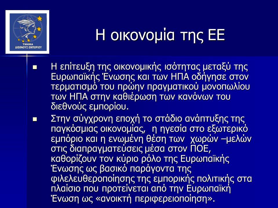 Η οικονομία της ΕΕ Η οικονομία της ΕΕ Η επίτευξη της οικονομικής ισότητας μεταξύ της Ευρωπαϊκής Ένωσης και των ΗΠΑ οδήγησε στον τερματισμό του πρώην πραγματικού μονοπωλίου των ΗΠΑ στην καθιέρωση των κανόνων του διεθνούς εμπορίου.