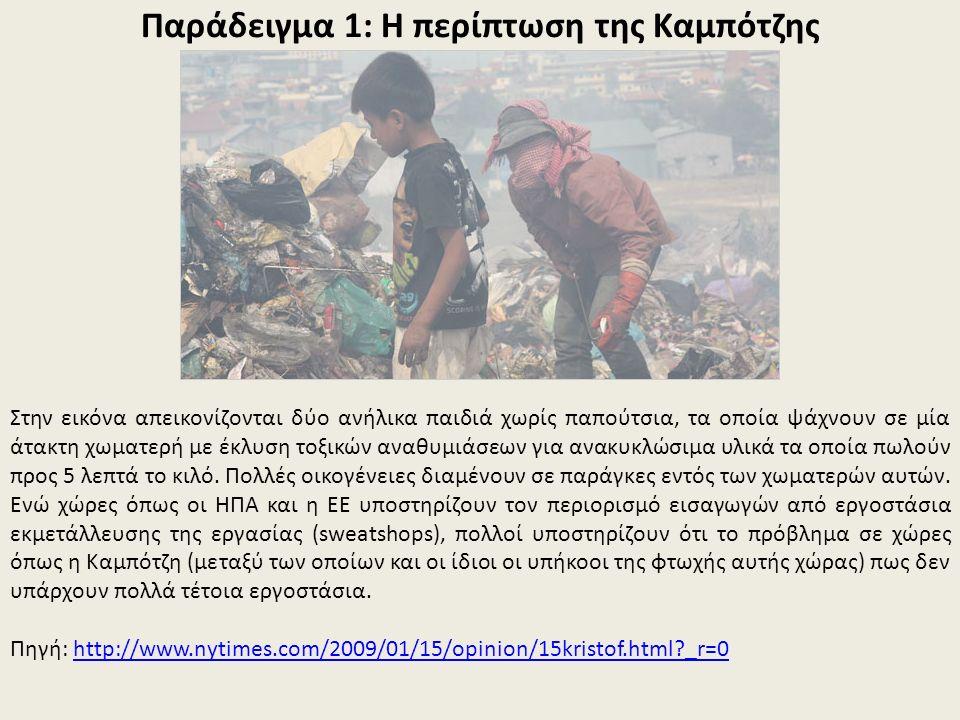Παράδειγμα 1: Η περίπτωση της Καμπότζης Στην εικόνα απεικονίζονται δύο ανήλικα παιδιά χωρίς παπούτσια, τα οποία ψάχνουν σε μία άτακτη χωματερή με έκλυση τοξικών αναθυμιάσεων για ανακυκλώσιμα υλικά τα οποία πωλούν προς 5 λεπτά το κιλό.